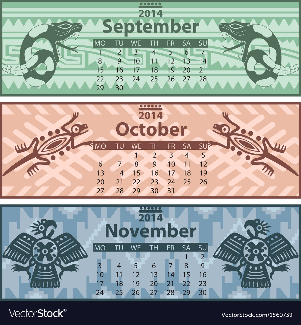 Calendar 2014 autumn vector | Price: 1 Credit (USD $1)