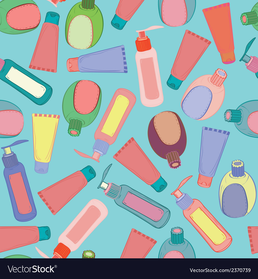 Cosmetic bottles pattern vector | Price: 1 Credit (USD $1)