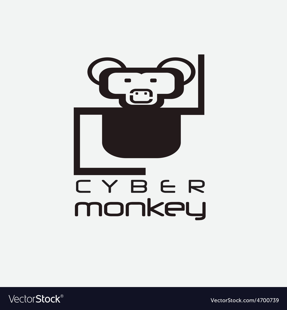 Cyber monkey computer shop design template vector | Price: 1 Credit (USD $1)