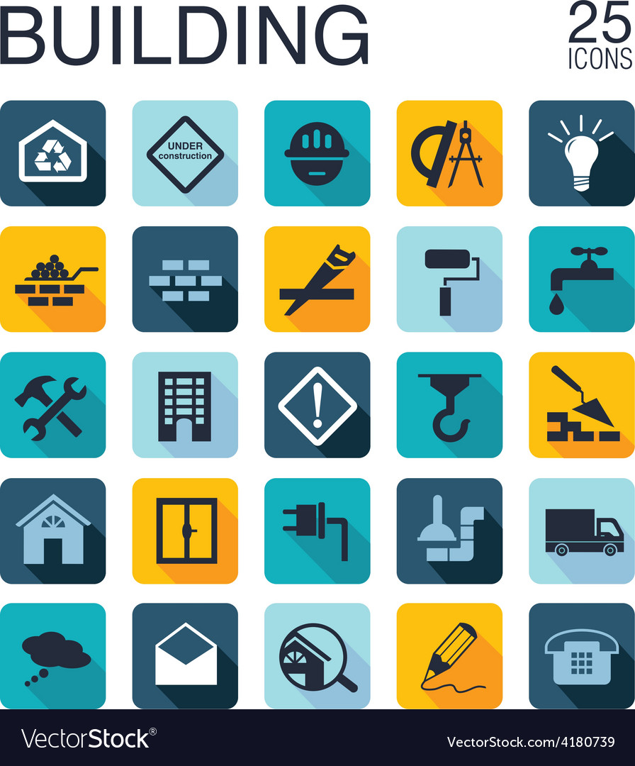 Flat building icons vector | Price: 1 Credit (USD $1)