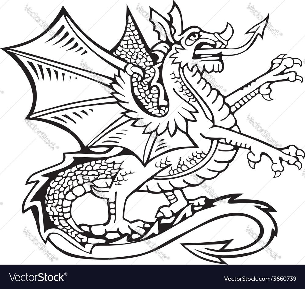 Heraldic dragon no2 vector | Price: 1 Credit (USD $1)