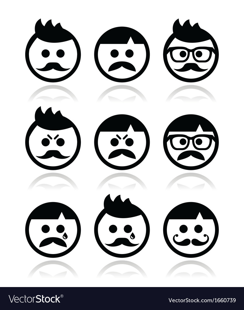 Man with moustache or mustache avatar icon vector | Price: 1 Credit (USD $1)