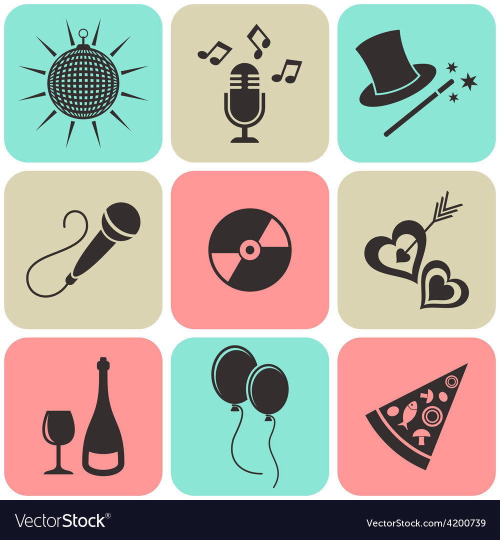 Party and entertainment icons vector | Price: 1 Credit (USD $1)
