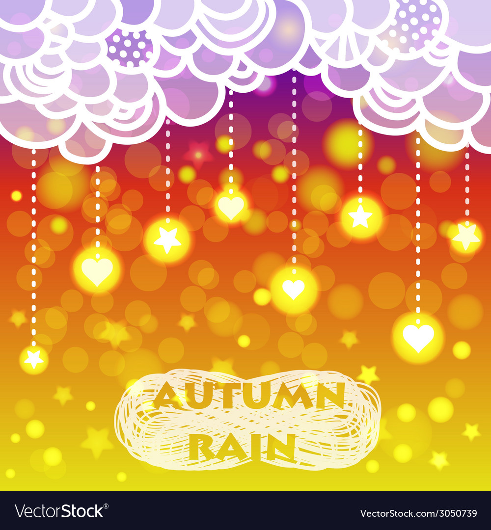 Rain of heart and stars with clouds autumn vector | Price: 1 Credit (USD $1)
