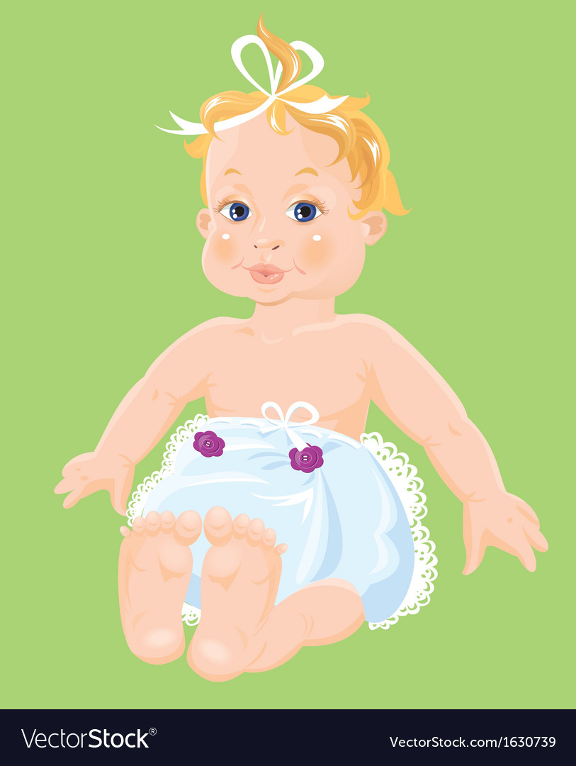 Red hair baby girl dressing pampers isolated o vector | Price: 3 Credit (USD $3)