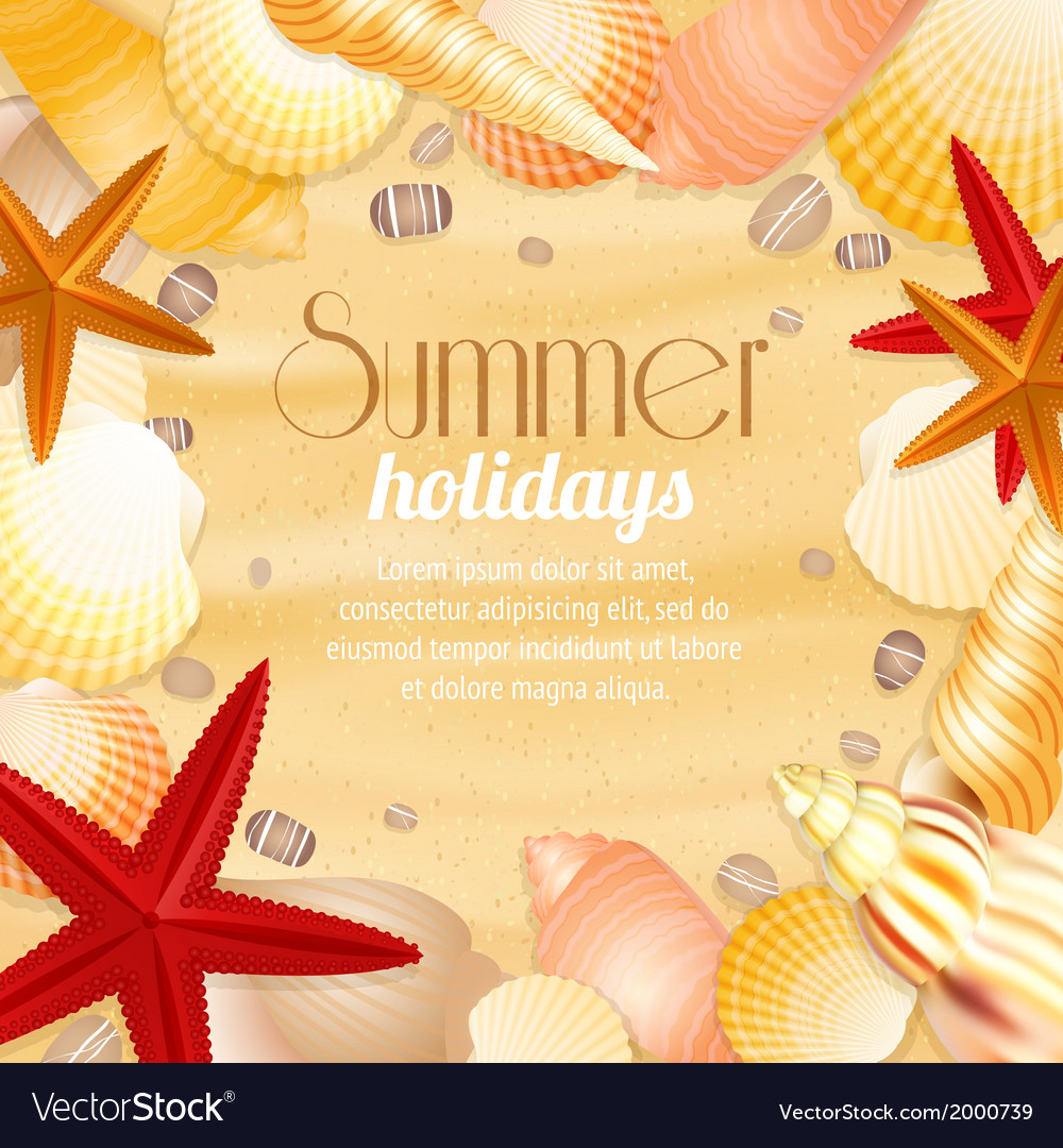 Summer holiday vacation travel poster vector | Price: 1 Credit (USD $1)