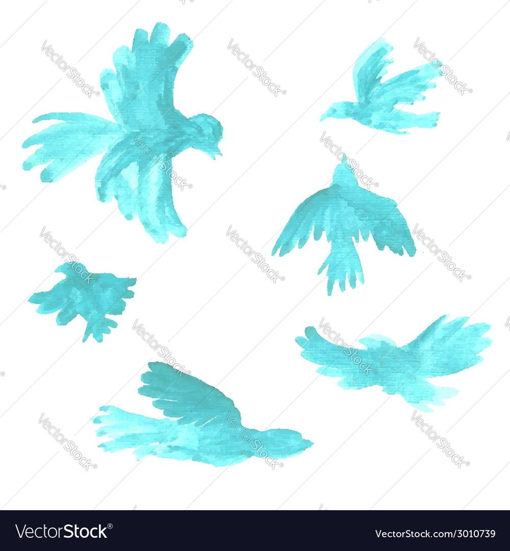 Watercolor birds vector | Price: 1 Credit (USD $1)