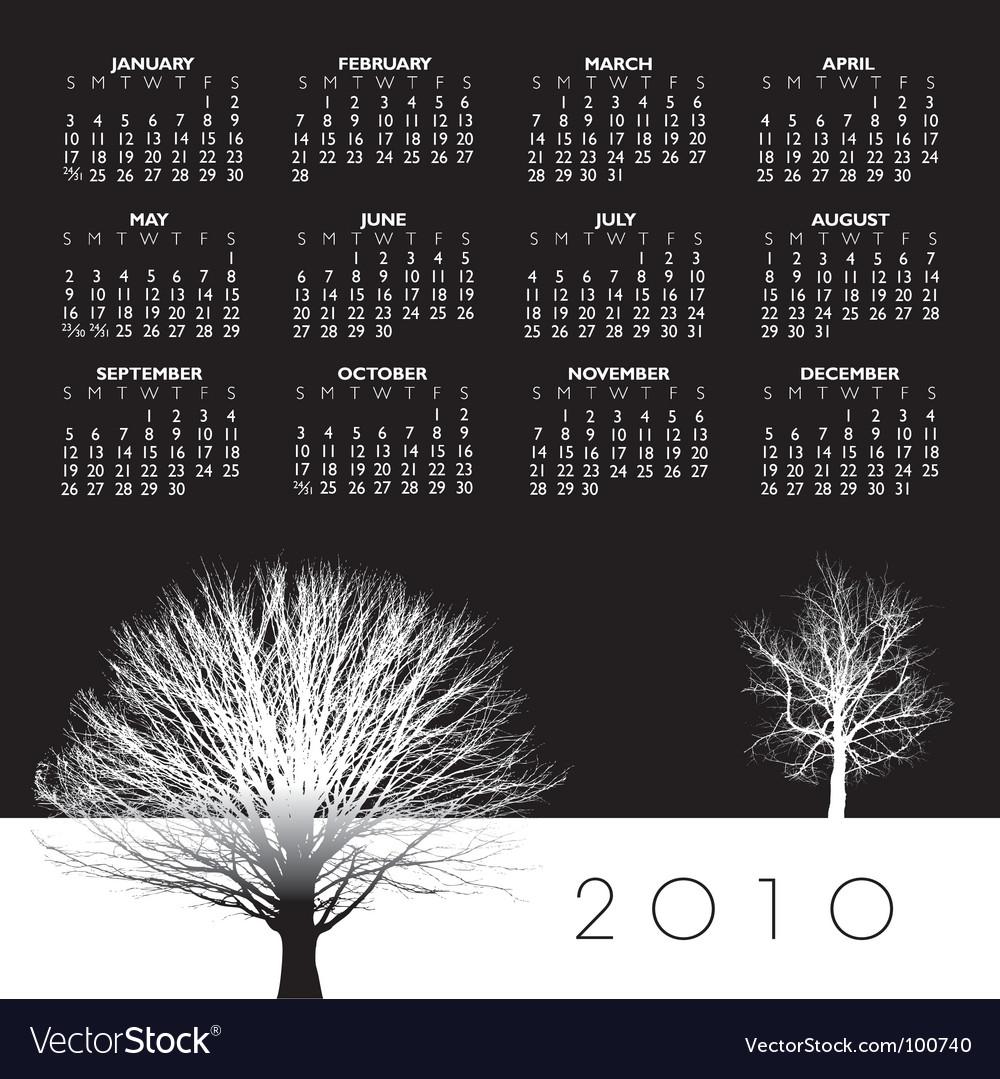 2010 trees calendar vector | Price: 1 Credit (USD $1)