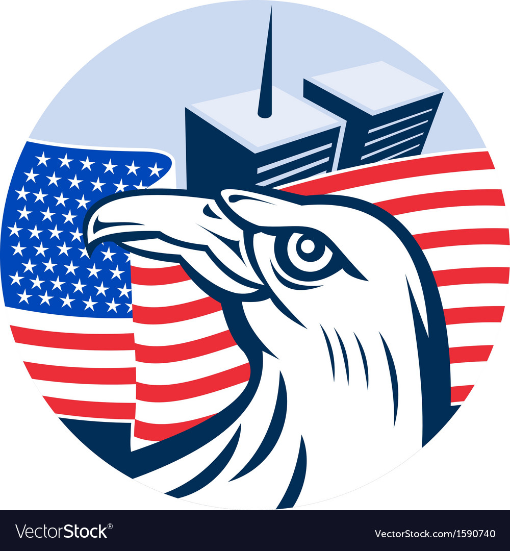 American eagle flag and twin tower building vector | Price: 1 Credit (USD $1)