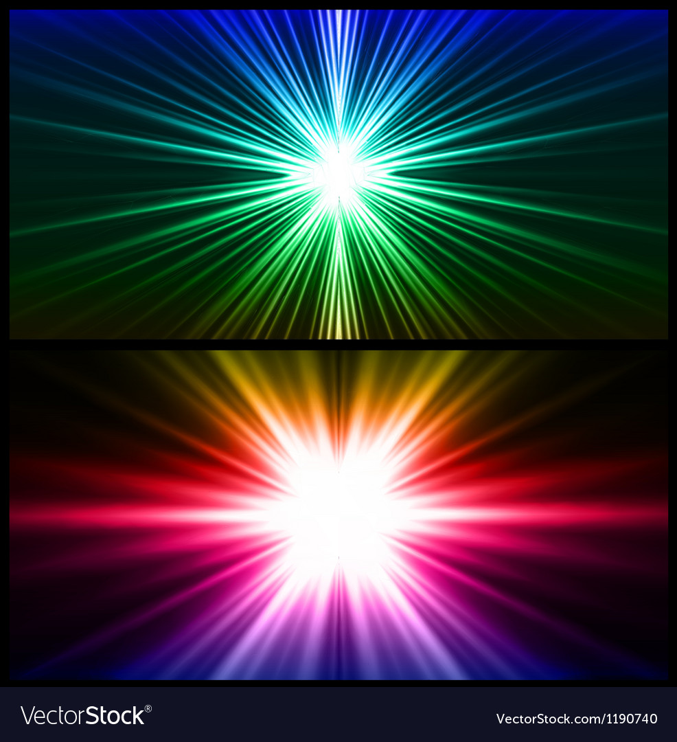 Colorful rays of light two background vector | Price: 1 Credit (USD $1)
