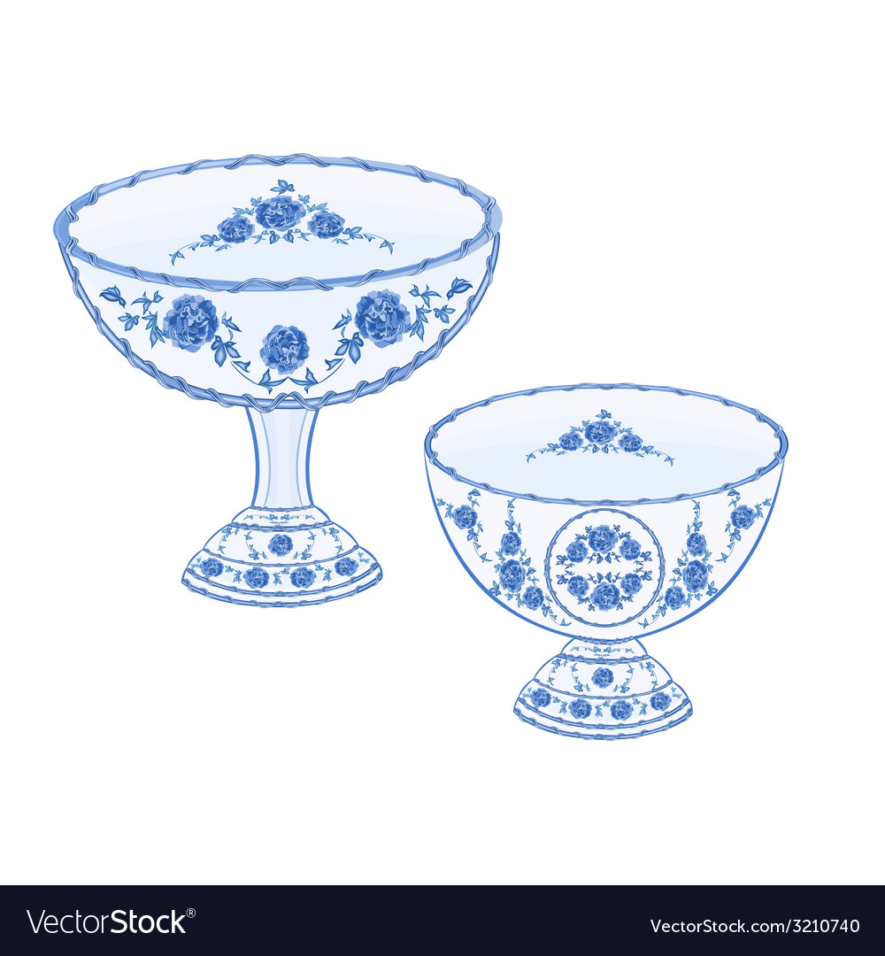 Faience cups decoration ceramic porcelain vector | Price: 1 Credit (USD $1)