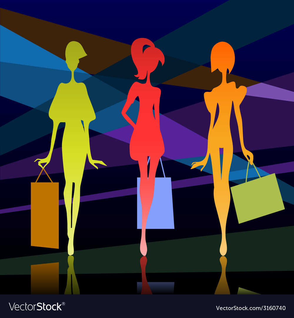 Girl with bags vector | Price: 1 Credit (USD $1)