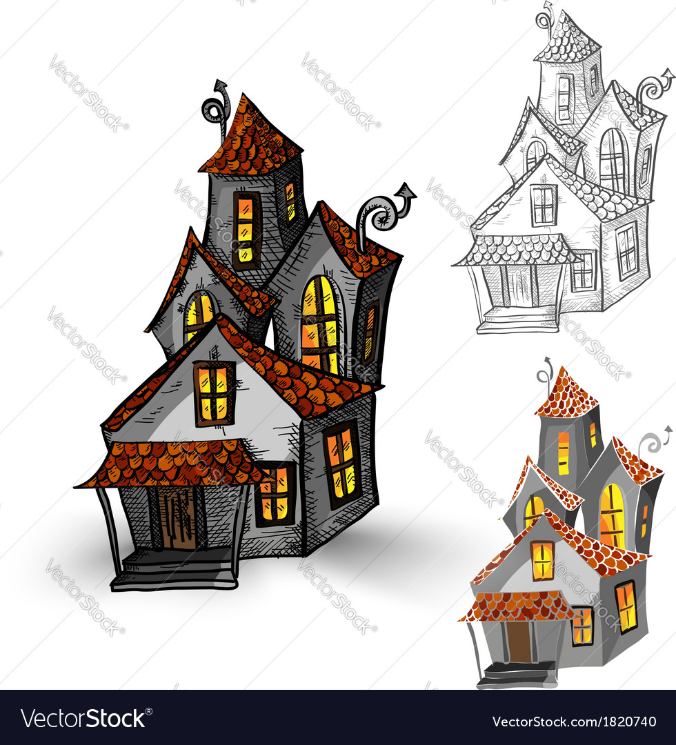 Halloween monsters isolated spooky haunted houses vector | Price: 1 Credit (USD $1)
