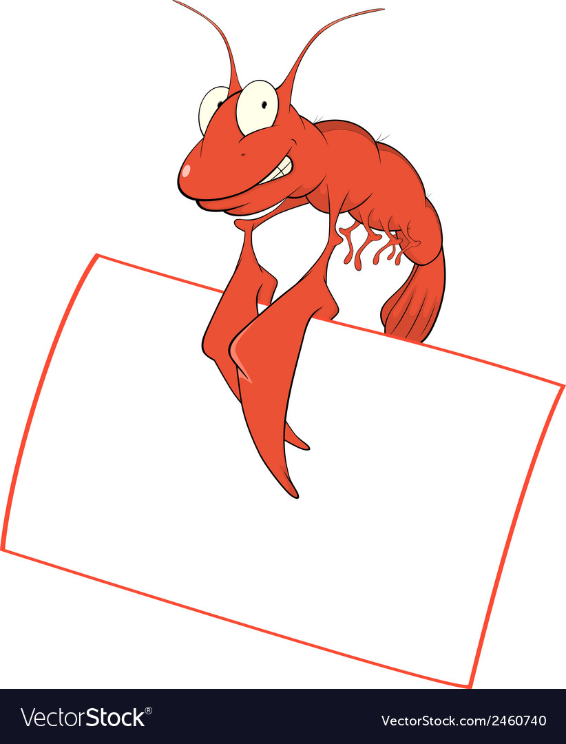 Red shrimp with the empty blank cartoon vector | Price: 1 Credit (USD $1)