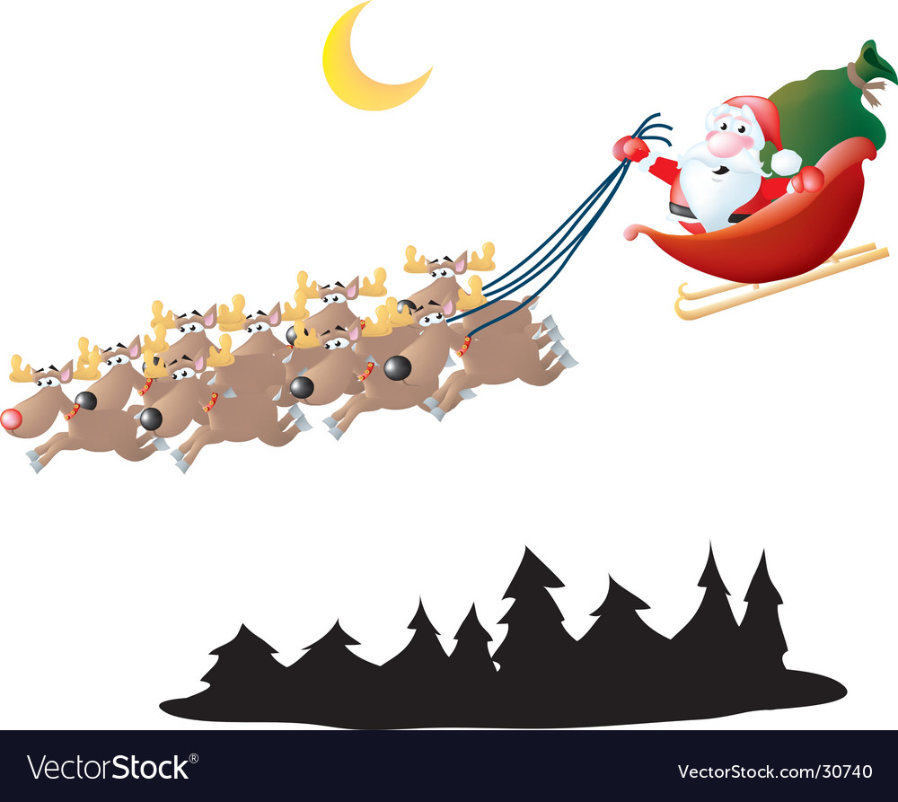 Santa in his sleigh vector