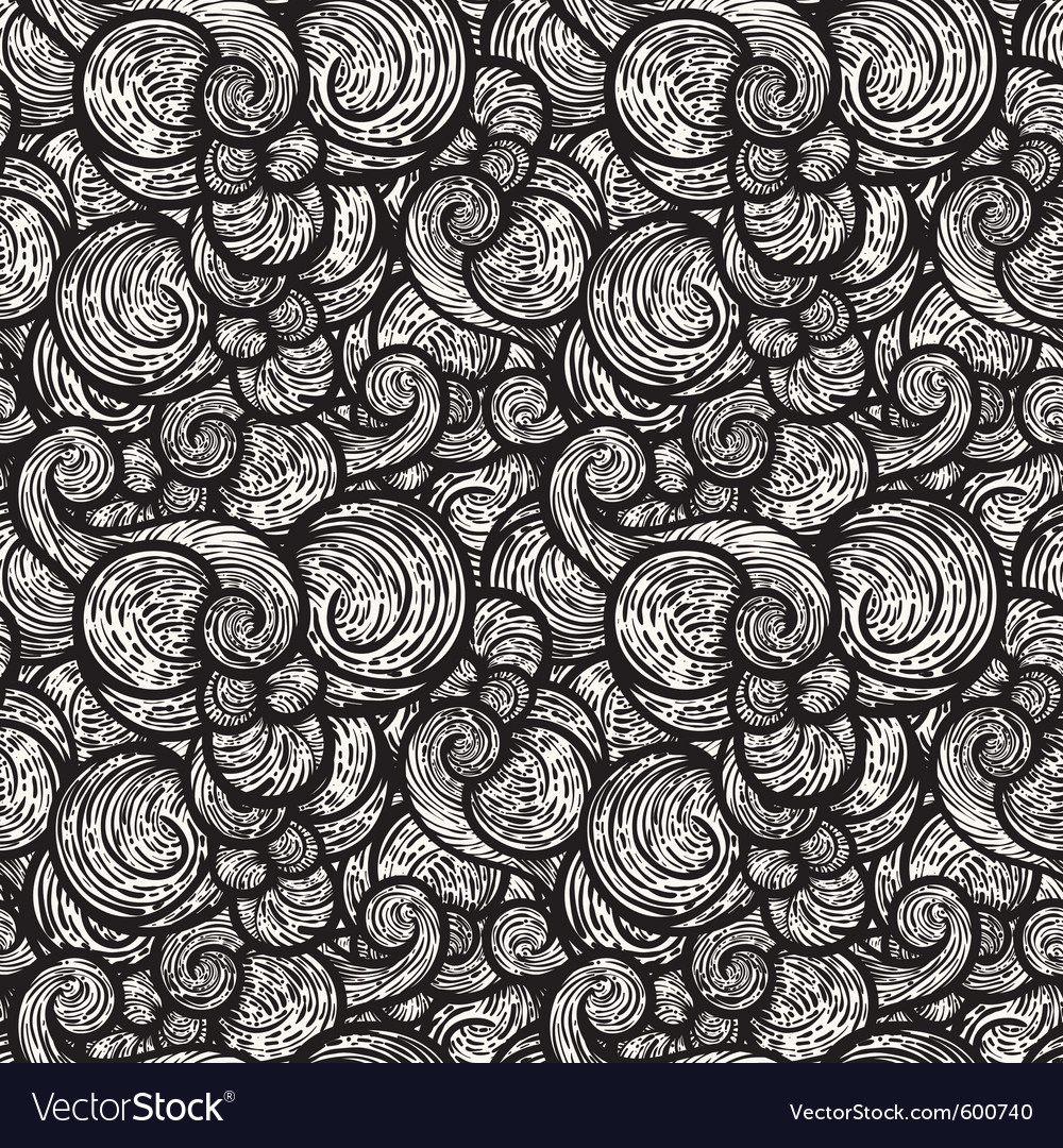 Seamless monochrome abstract background with curly vector | Price: 1 Credit (USD $1)