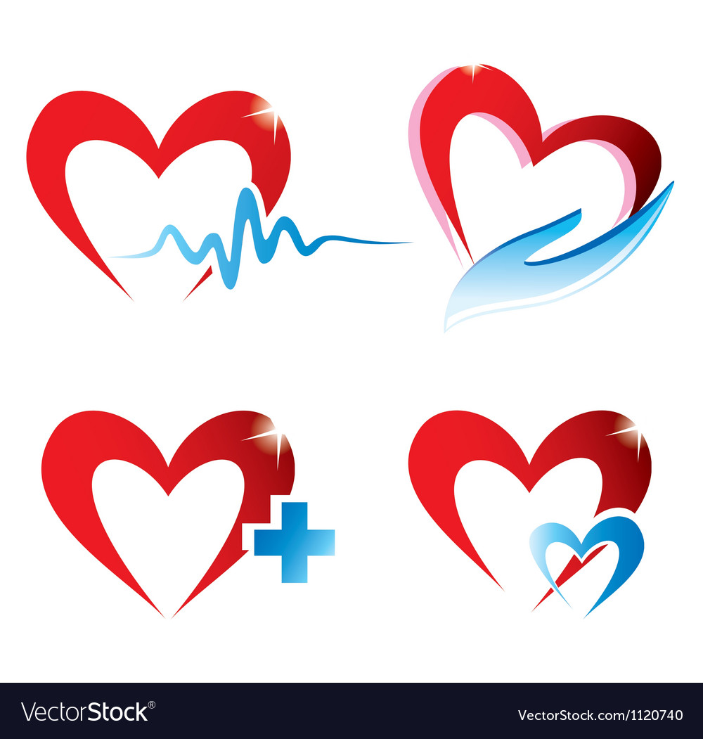 Set of hearts icons medicine concept vector | Price: 1 Credit (USD $1)