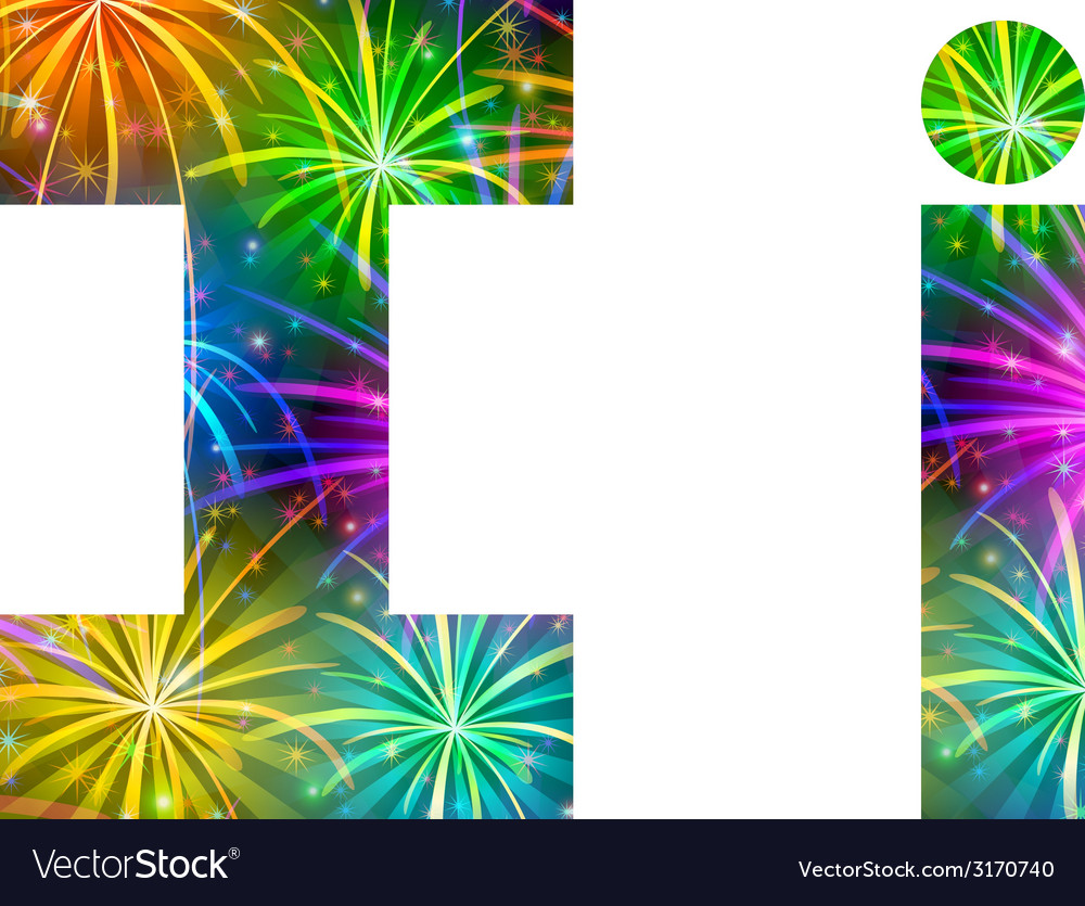 Set of letters firework i vector | Price: 1 Credit (USD $1)