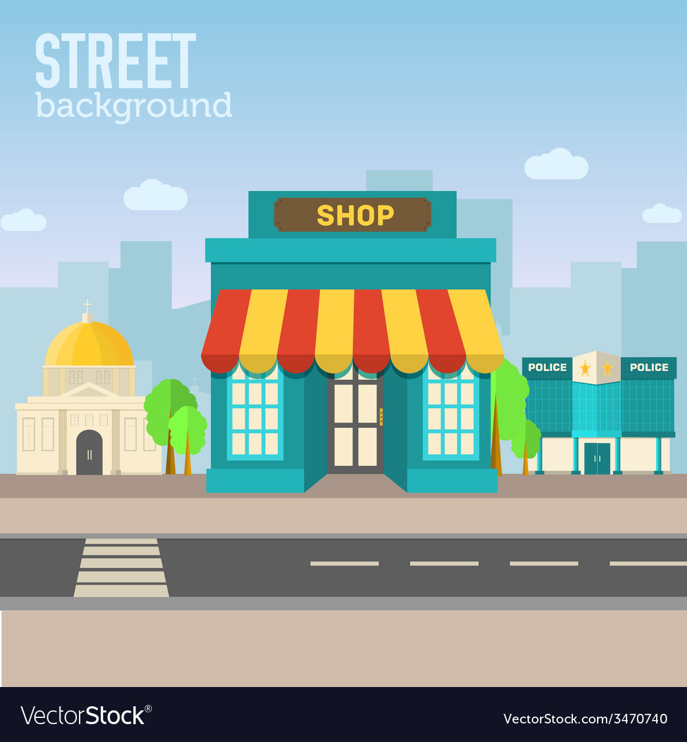 Shop building in city space with road on flat syle vector | Price: 1 Credit (USD $1)