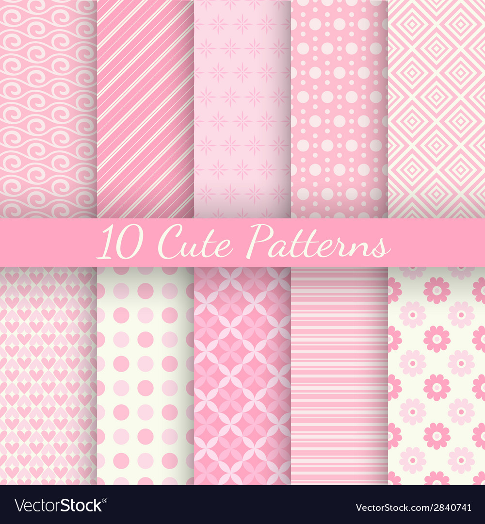Cute different seamless patterns pink and white vector | Price: 1 Credit (USD $1)