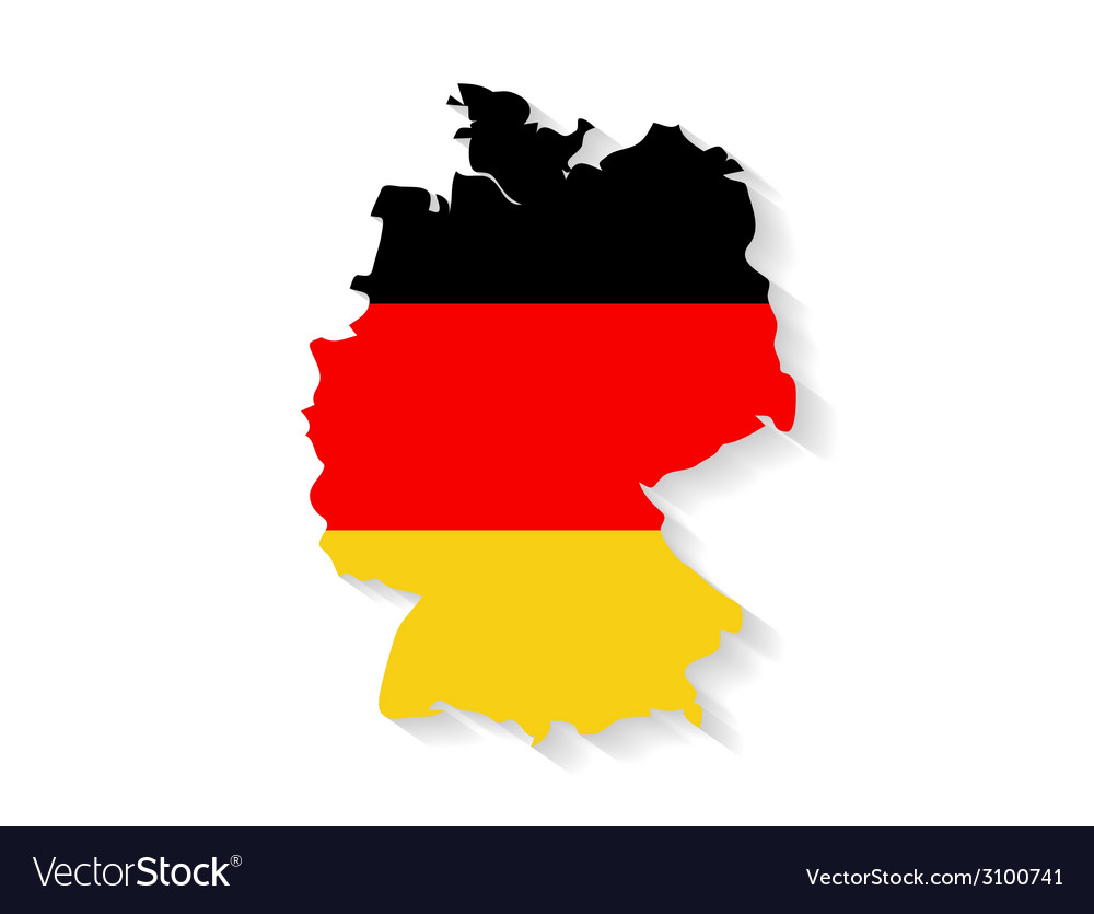 Germany flag map with shadow effect vector | Price: 1 Credit (USD $1)