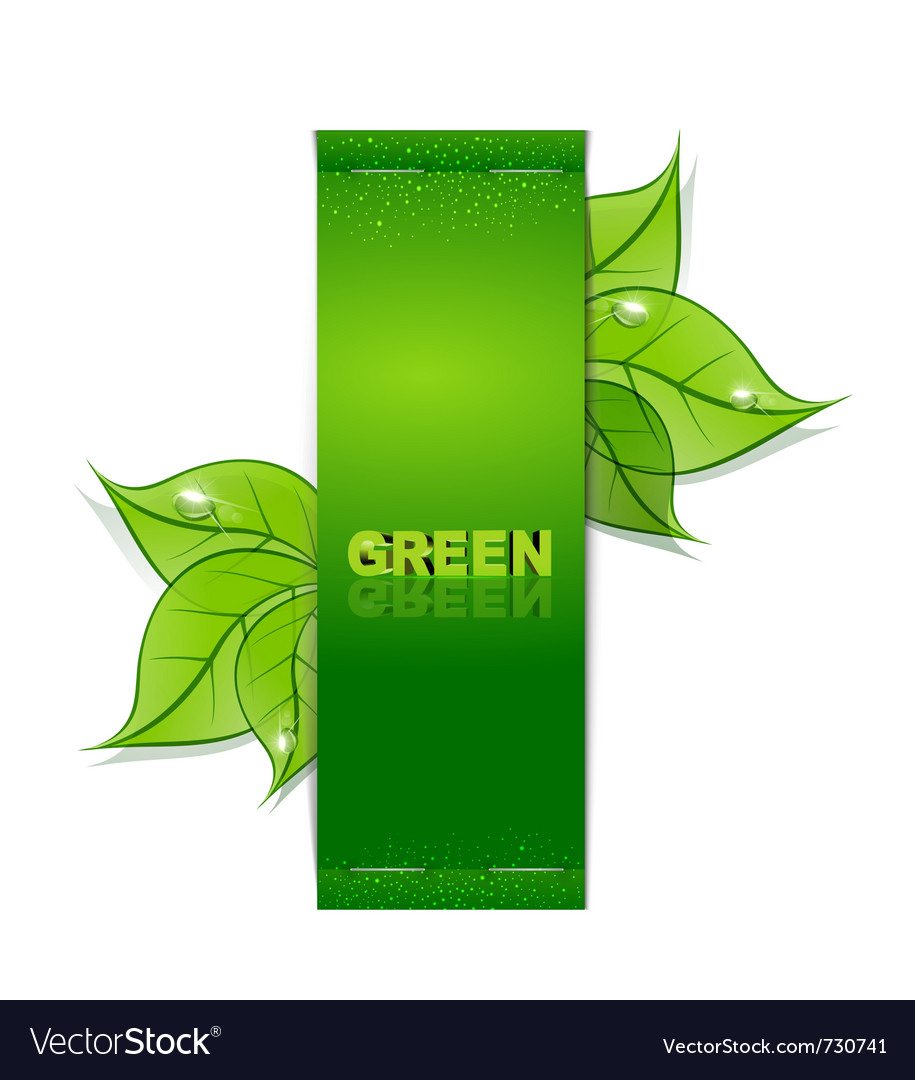 Green leaves banner vector | Price: 1 Credit (USD $1)