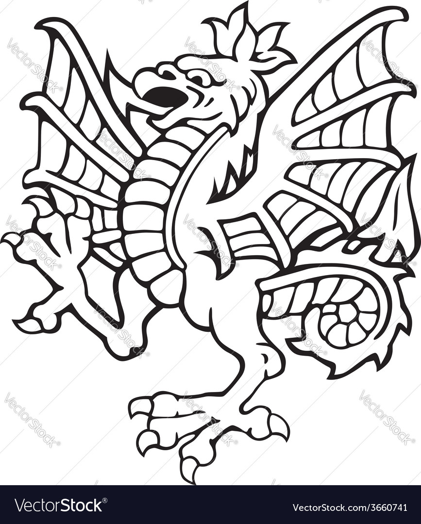 Heraldic dragon no3 vector | Price: 1 Credit (USD $1)