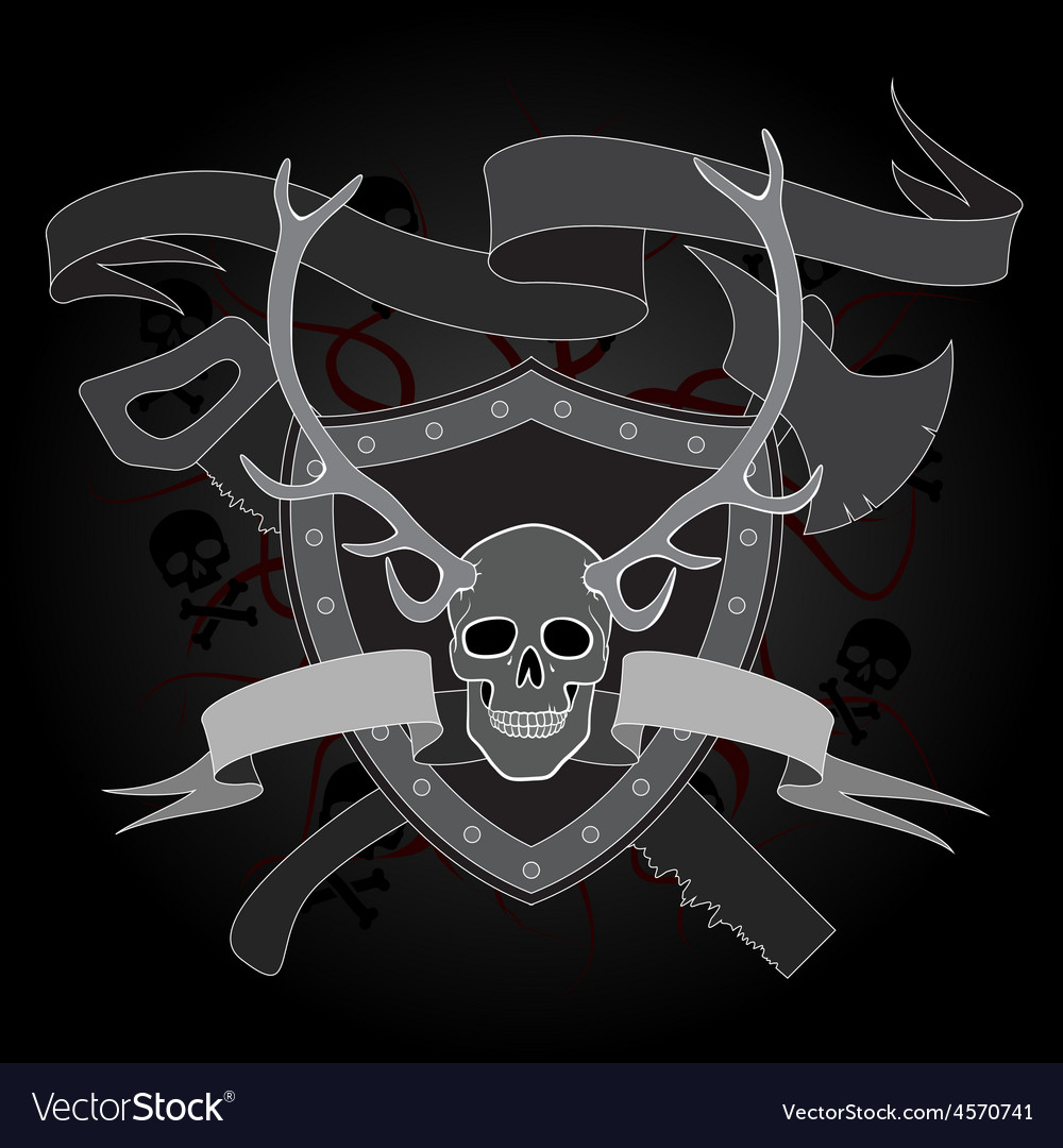 Horned skull coat of arms vector | Price: 1 Credit (USD $1)