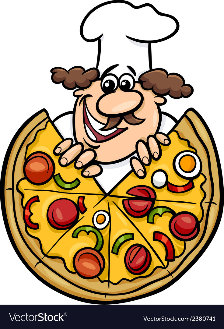 Italian chef with pizza cartoon vector | Price: 1 Credit (USD $1)