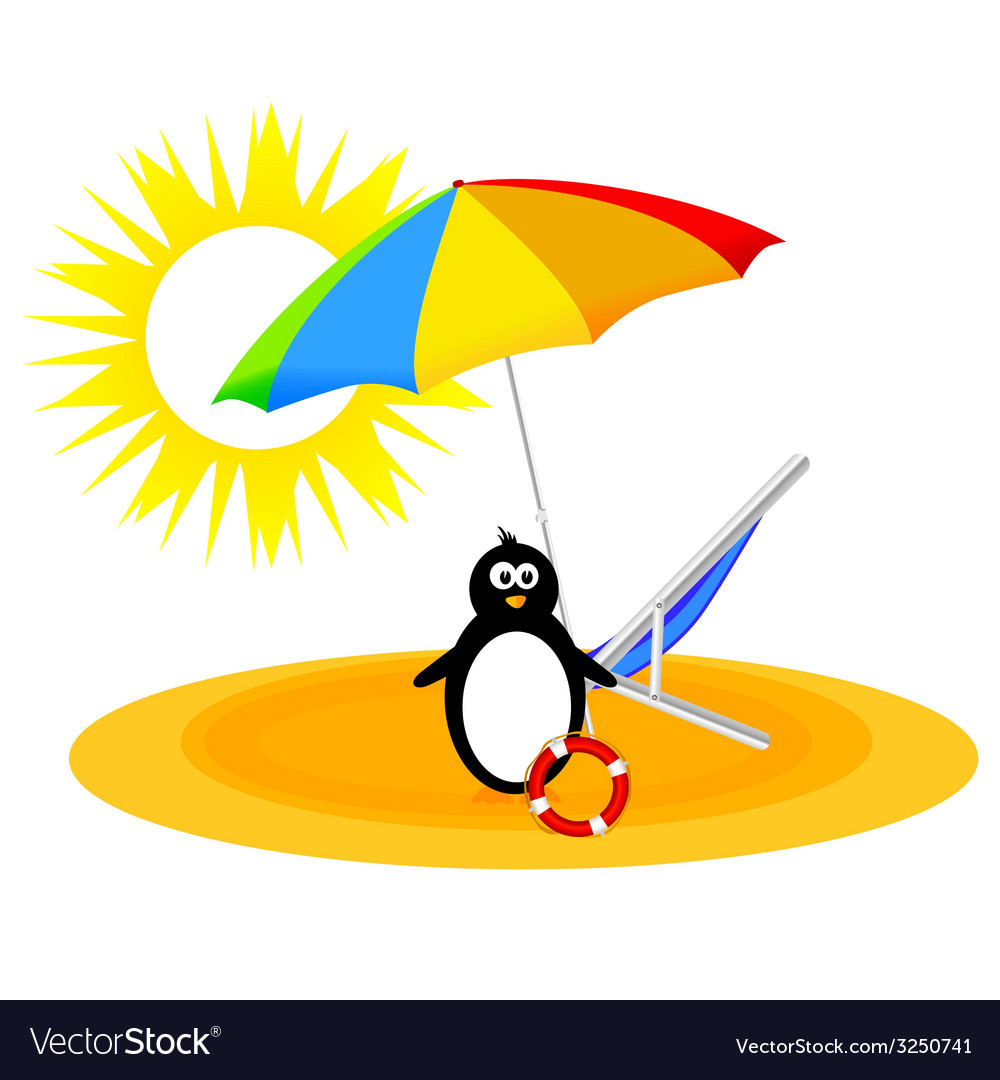 Penguin with umbrella on the beach vector | Price: 1 Credit (USD $1)