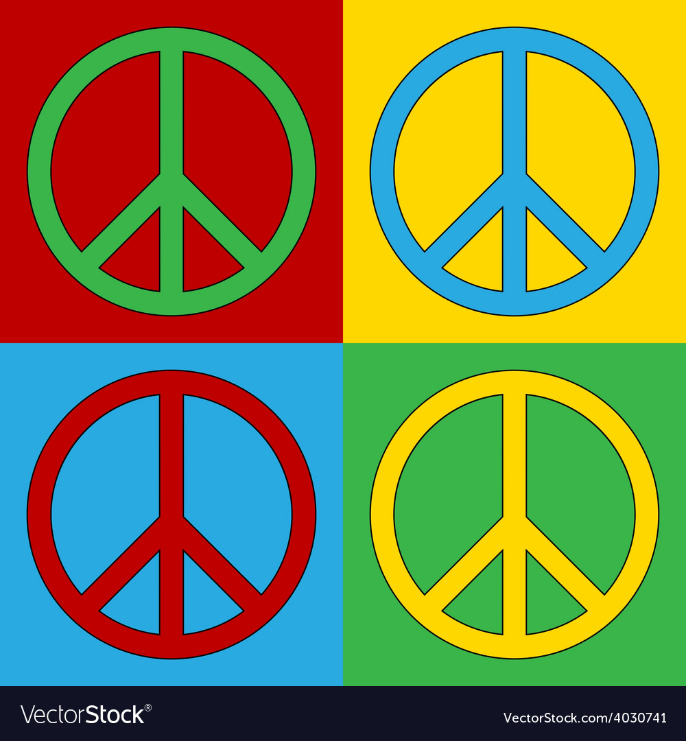 Pop art peace icons vector | Price: 1 Credit (USD $1)