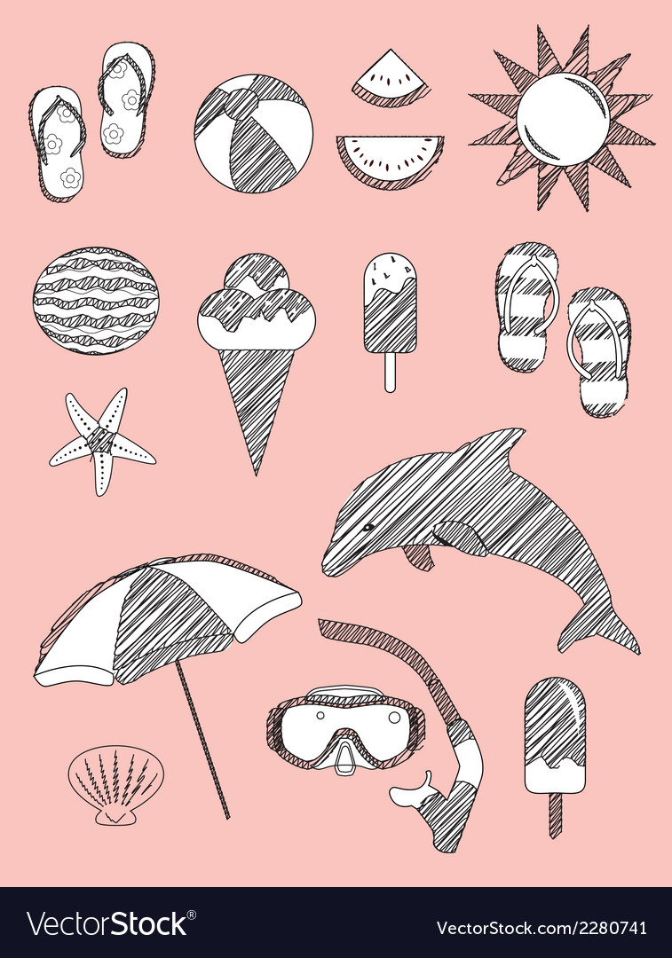 Set of summer fun sketch scribble objects vector | Price: 1 Credit (USD $1)