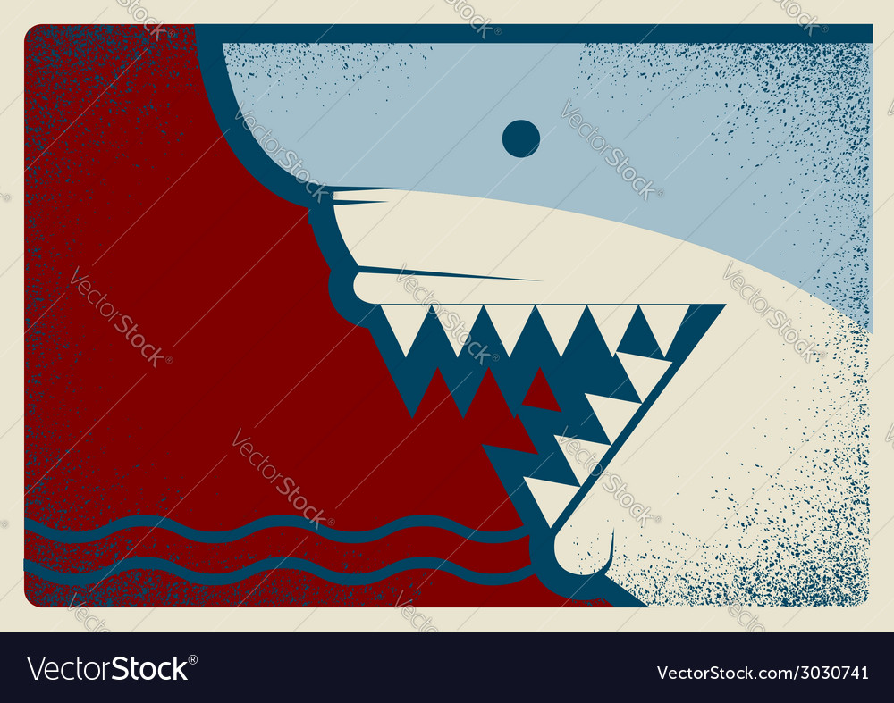 Shark poster background for design vector | Price: 1 Credit (USD $1)
