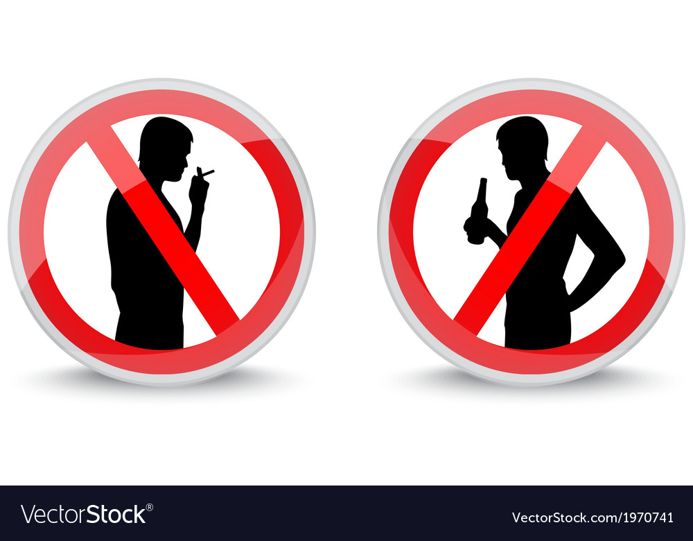 Signs prohibiting smoking and drinking alcohol vector | Price: 1 Credit (USD $1)