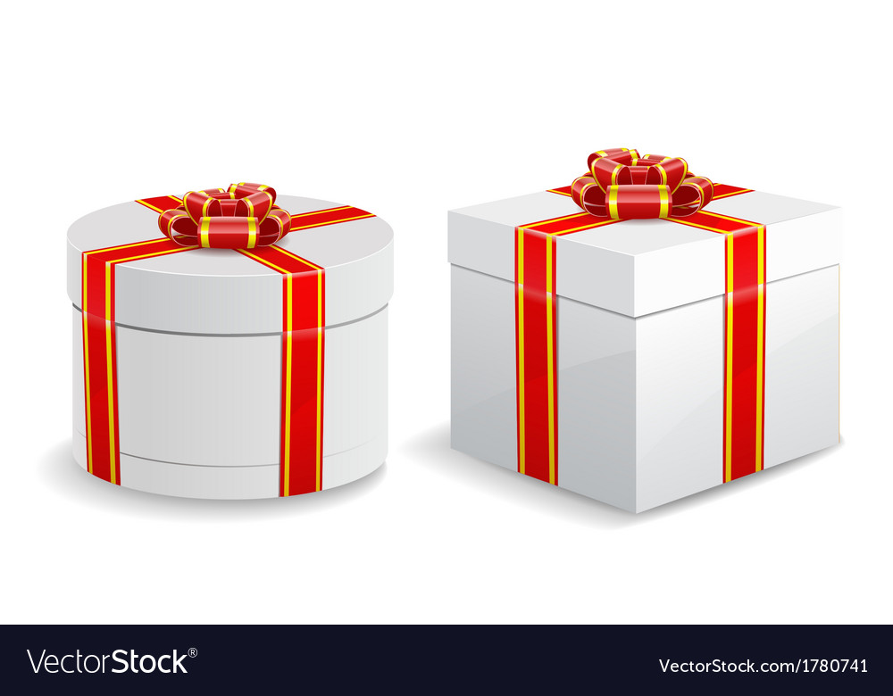 Square and round gift boxes isolated on white vector | Price: 1 Credit (USD $1)