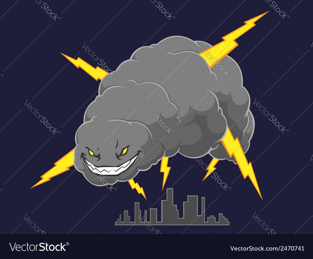 Storm cloud attacking a city vector | Price: 1 Credit (USD $1)