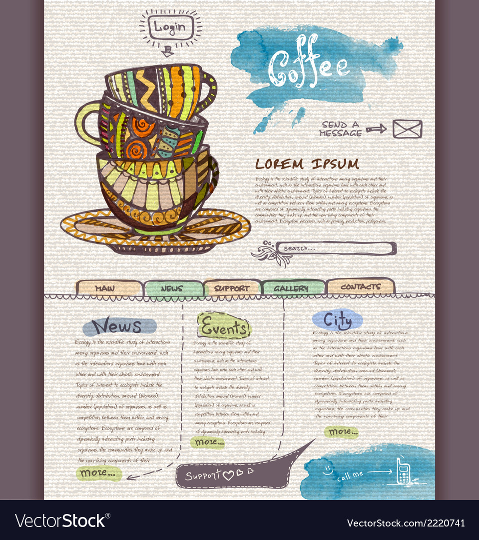 Website design template cup of coffee vector | Price: 1 Credit (USD $1)
