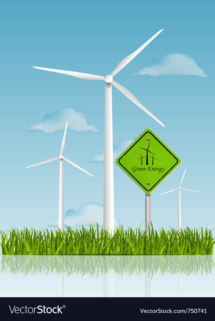 Wind turbine field vector | Price: 1 Credit (USD $1)