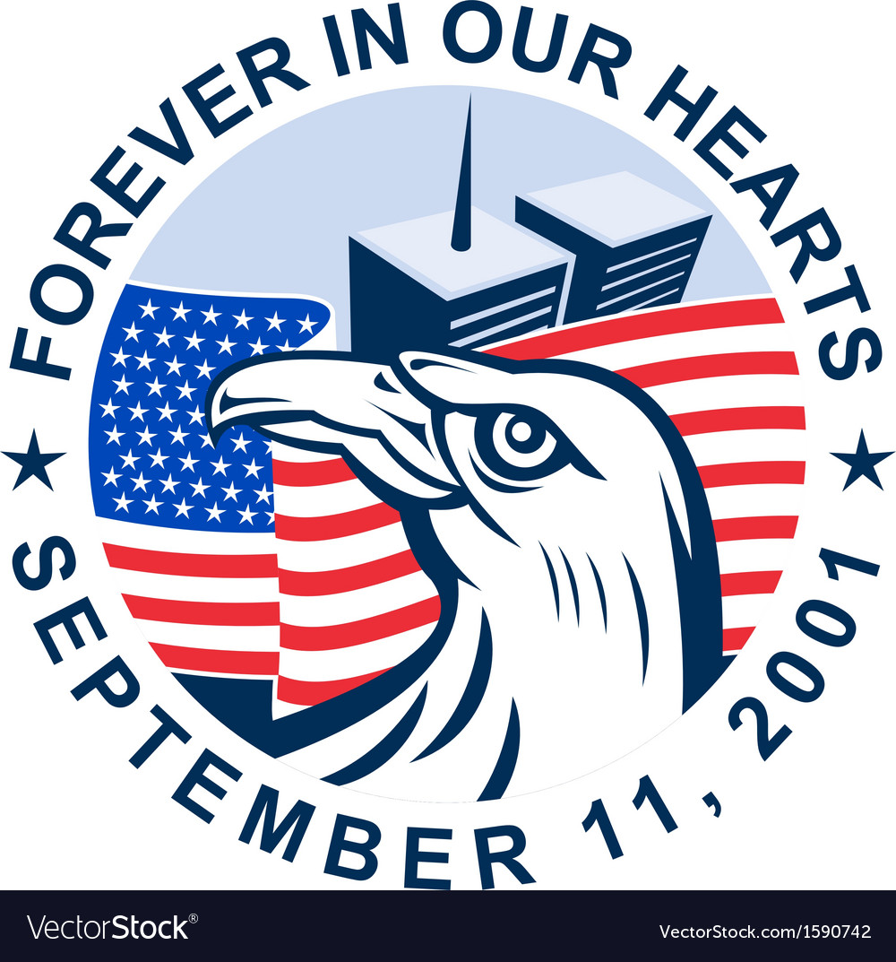 911 memorial american eagle flag twin towers vector | Price: 1 Credit (USD $1)
