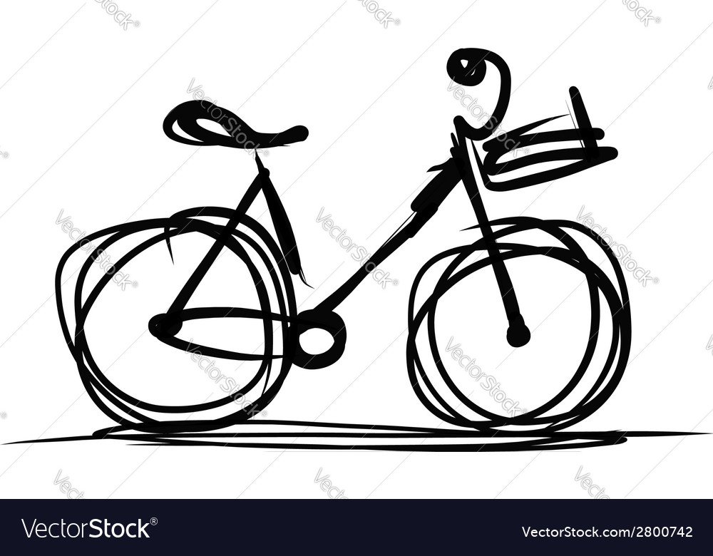Bicycle with basket sketch for your design vector | Price: 1 Credit (USD $1)