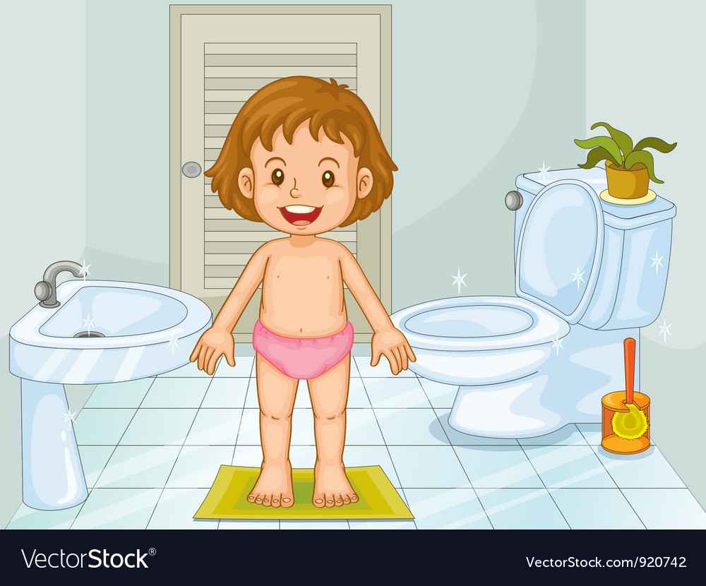 Child in bathroom vector | Price: 3 Credit (USD $3)