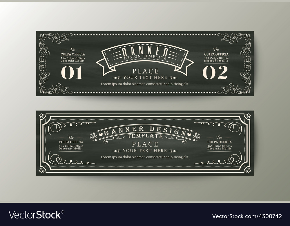 Classic style banner design template vintage frame vector | Price: 1 Credit (USD $1)