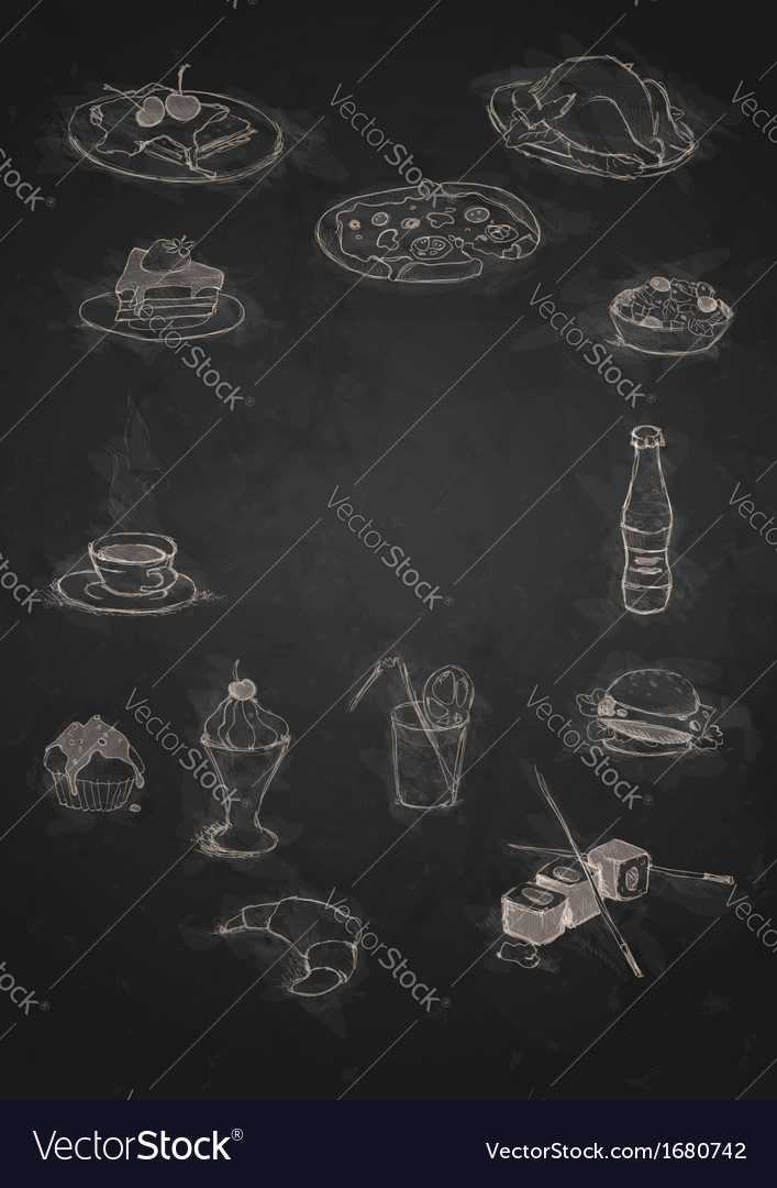 Design elements for the menu on the chalkboard vector | Price: 1 Credit (USD $1)