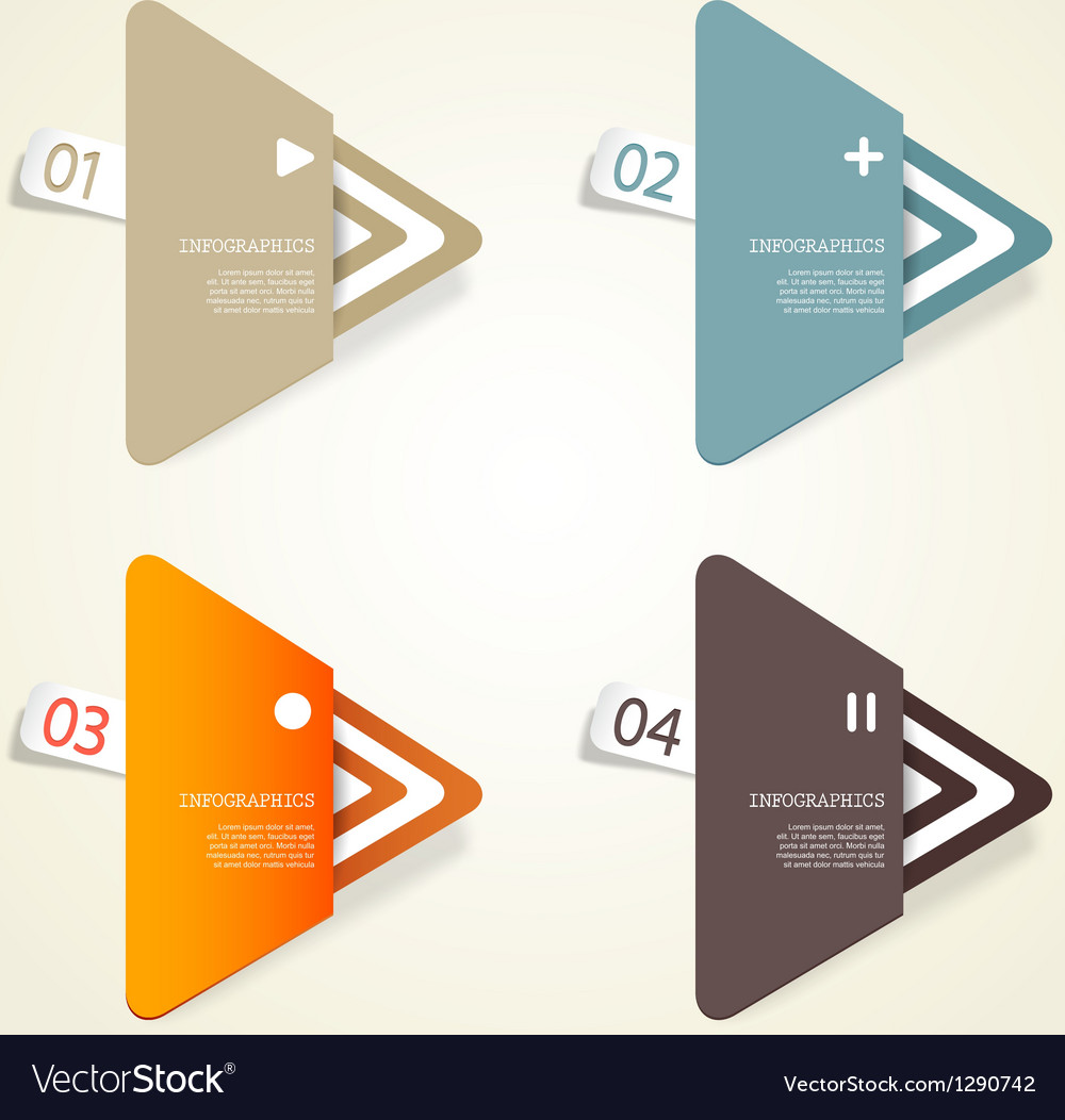 Four colored paper triangles vector | Price: 1 Credit (USD $1)