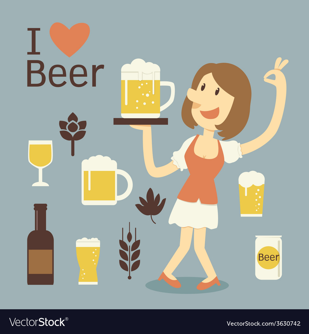 Girl serving beer vector | Price: 1 Credit (USD $1)