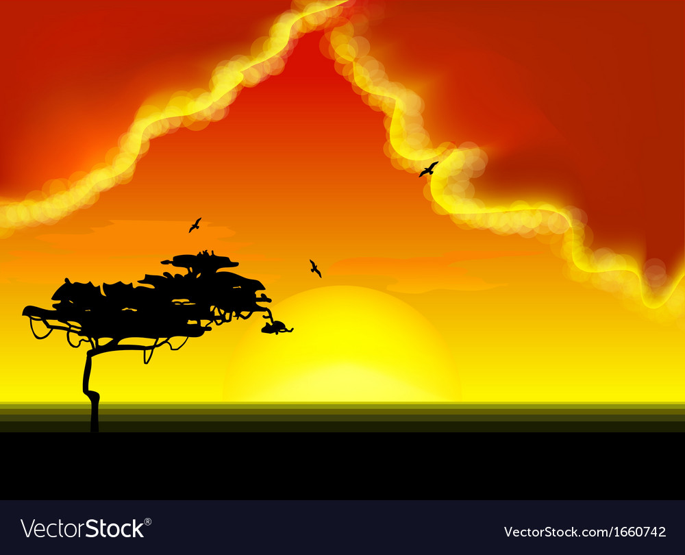 Landscape with tree on horizon vector | Price: 1 Credit (USD $1)