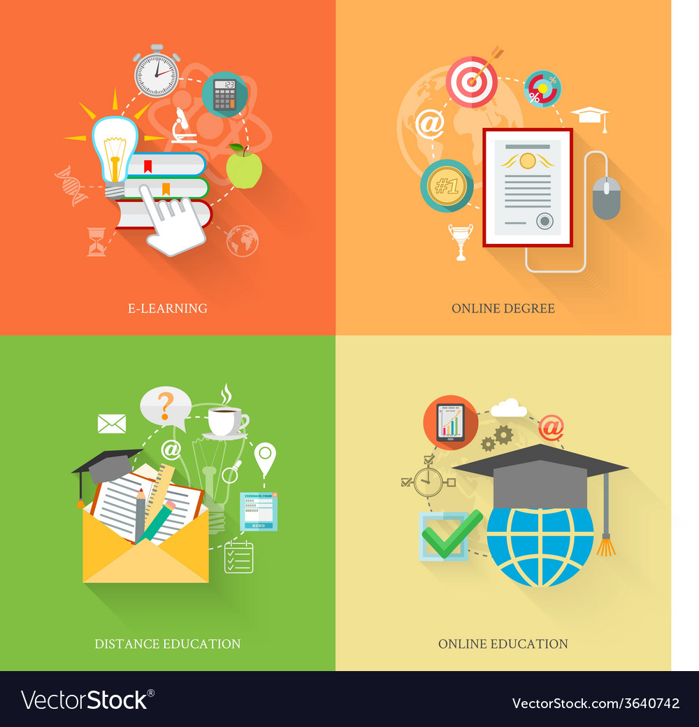 Online education icons vector | Price: 1 Credit (USD $1)