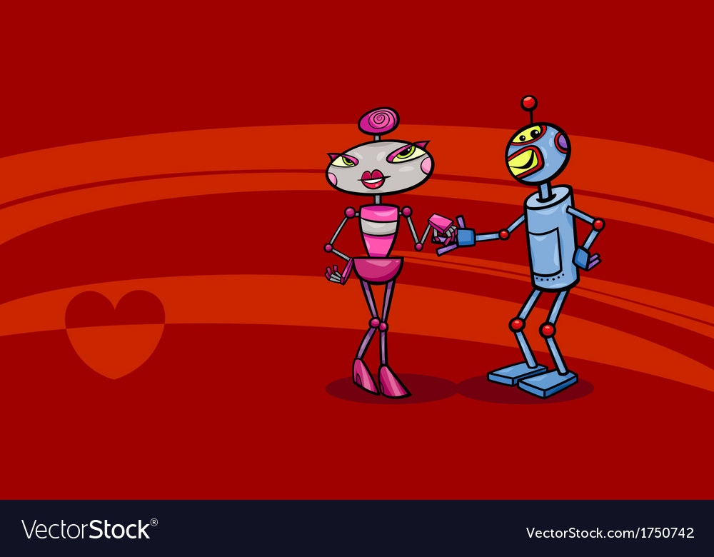 Robots couple in love valentine card vector | Price: 1 Credit (USD $1)
