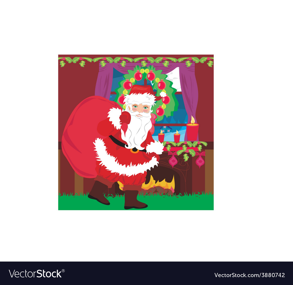 Santa claus with a bag of gifts vector   Price: 1 Credit (USD $1)