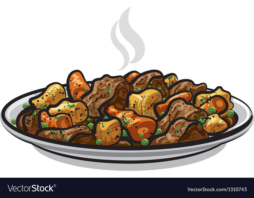 Beef stew dish vector | Price: 3 Credit (USD $3)